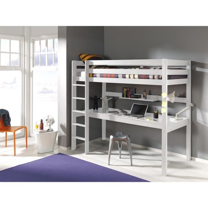 Lit mezzanine avec bureau ruben 90x200 blanc best mezzanine lit superpos - Lits superposes 90x200 ...