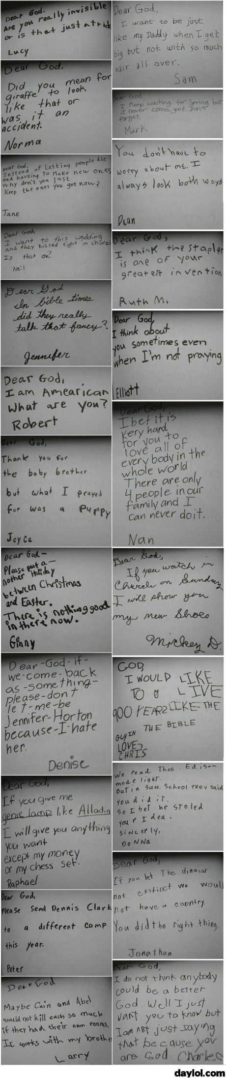 When kids write letters to god - DayLoL.com - Your Daily LoL!