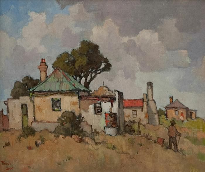 Conrad Theys (b 1940) Farmhouse with green roof - 2005 Oil on canvas