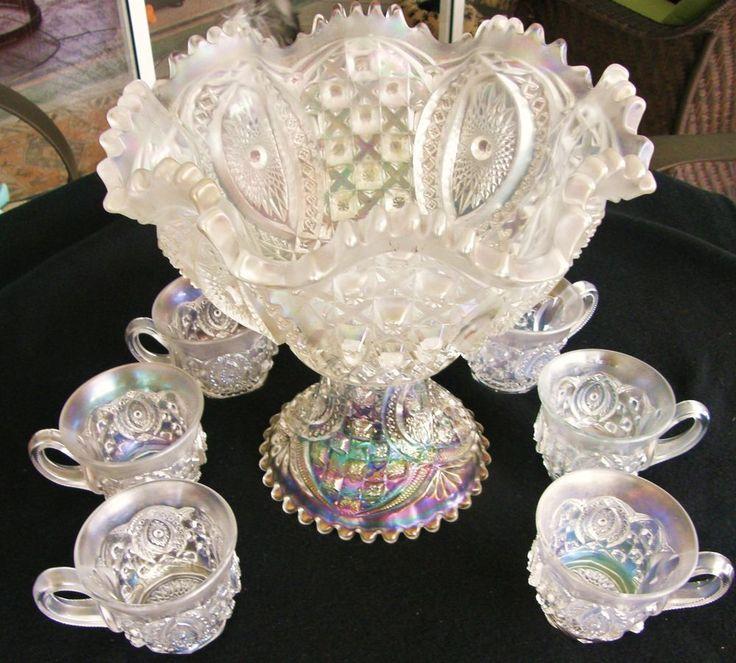 Rare...Northwood Carnival Glass Memphis White 8 Piece Punch Bowl Set | Pottery & Glass, Glass, Glassware | eBay!