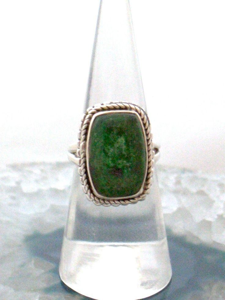 Sz 5 (J 1/2), Rare Genuine Dark Green JADE Rectangular Gemstone, 925 Solid Sterling Silver Ring Jewellery! by AmeogemJewellery on Etsy