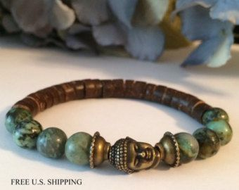 Men's Bracelet Mala // Lava Stone & Black Moonstone by DharmaWoods