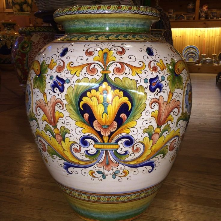 Large Colored Ricco Deruta Italian Ceramic Urn - The Deruta artists who create these large decorative pieces are among the most skilled in Italy. Graceful brushwork like this is only possible after years and years of training to hone techniques refined over countless generations. An exceptionally fine example of traditional Italian art, this large Italian pottery urn is destined to become a family heirloom! Found at the Italian Pottery Outlet in Santa Barbara, CA.