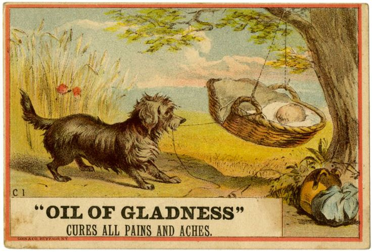 """Oil of Gladness"" reminds me of a bygone age where babies were tended only by dogs as they hung from trees"