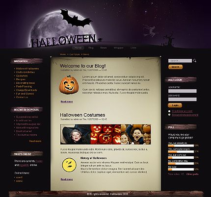 Drupal #template // Regular price: $63 // Unique price: $890 // Sources available: .PSD, .PHP #Website #Halloween #Wide #Drupal #Blog
