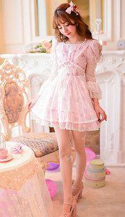 Japanese sweet lace chiffon floral princess dress