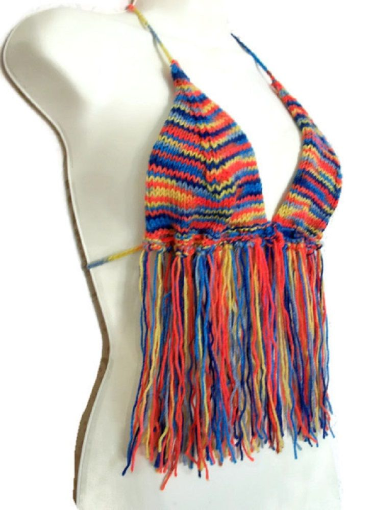 Rainbow+Mix+Festival+Top,+Fringed+Pride+-+hand+knitted, £21.99