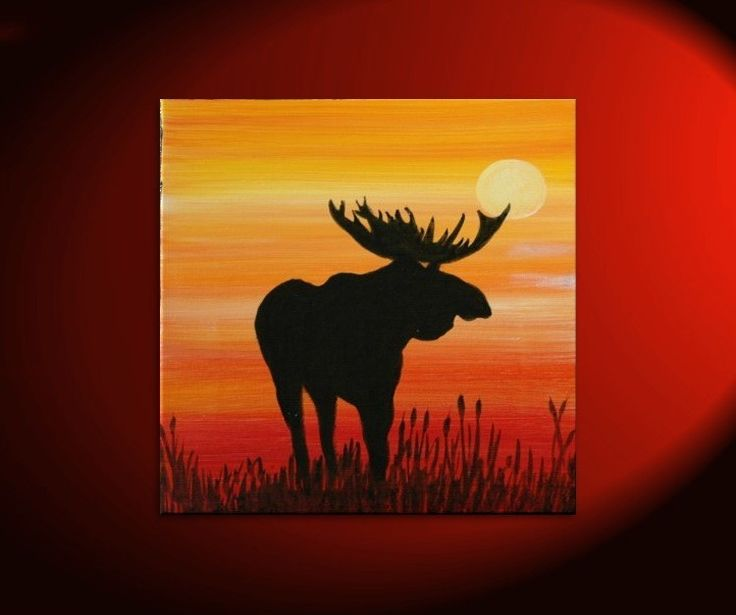 Male Moose Silhouette Painting Original Sunset Cattails Bullrushes Pond Swamp Animal Orange Yellow Art Custom 30x30. , via Etsy.