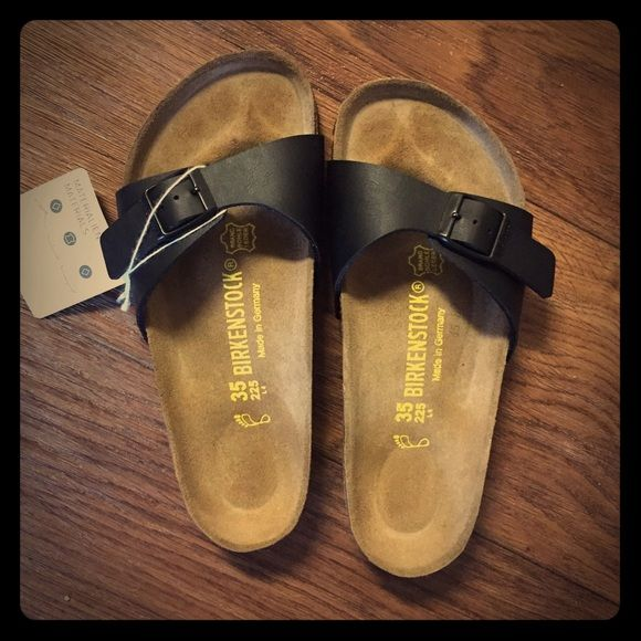 Birkenstock Madrid Black These are brand new with tags, never worn only tried on. Come with original box (got from Germany). These are a rare size 5 (european 35) and they would fit any 5 or 5.5 comfortably. Birkenstock Shoes Sandals