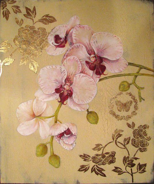 Stefania Ferri: ORCHIDEEN - Mischtechnik auf Holz mit Blattgold Arbeit 40 x 50 cm
