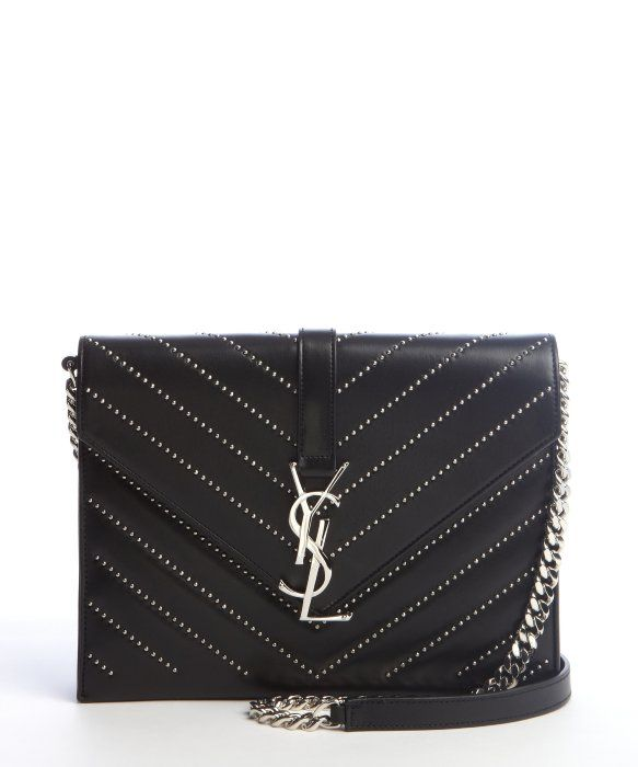 SAINTLAURENT \u0026#39;YSL\u0026#39; Monogramme studded quilted shoulder bag | Carry ...