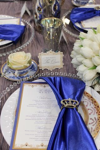 "wonderfully elegant tablescape of blue & white for a ""royal style affair"" (see Weddings- Themes where I have ""A Royal Affair"" for a theme... this fits perfectly!)"