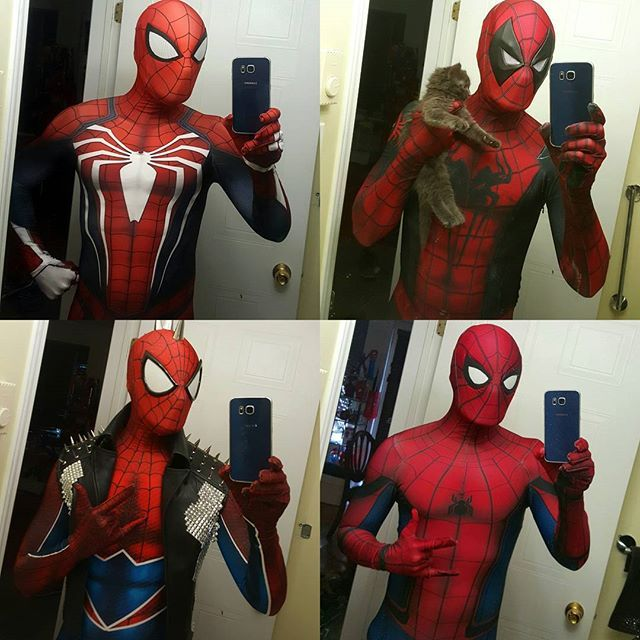 All my latest Spidey suits!  Made by @therpcstudio. Check the out if you want one!  There's PS4 Spider-Man, Spidey-Pool, Spider-Punk and Civil War Spider-Man.  Featuring my kitten Eddie in the top left.  #spiderman #deadpool #spideypool #mashup #marvelcomics #menofcosplay #spidey #spiderverse #amazingspiderman #civilwar #mcu #captainamericacivilwar #spidey