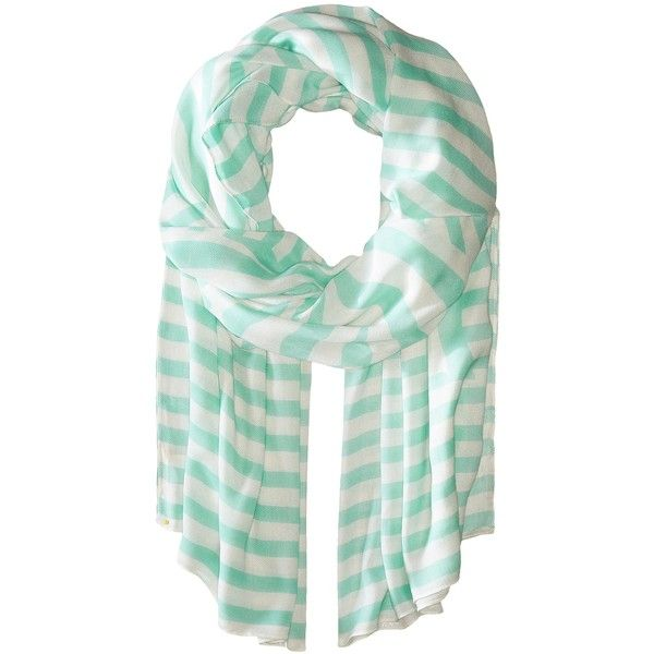 Kate Spade New York Painterly Bow Oblong Scarf (Mint Liqueur) Scarves ($71) ❤ liked on Polyvore featuring accessories, scarves, green, oblong scarves, mint scarves, green scarves, viscose scarves and striped scarves