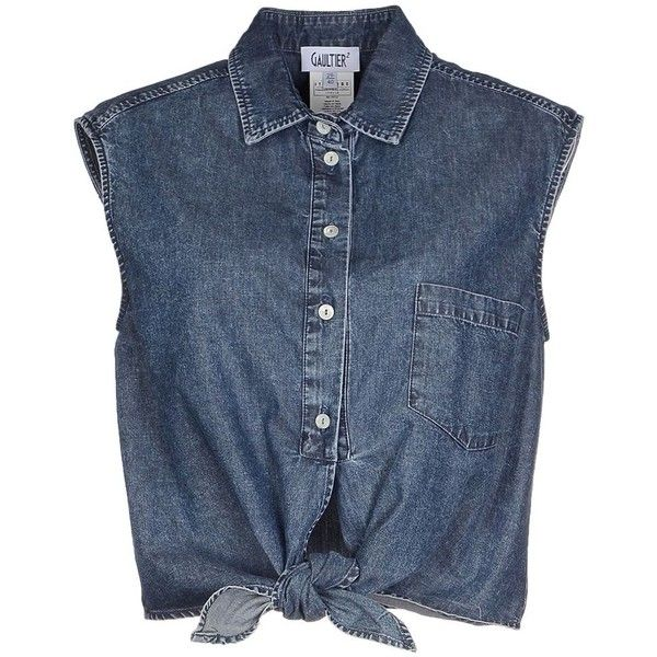 Jean Paul Gaultier Denim Shirt ($78) ❤ liked on Polyvore featuring tops, shirts, crop tops, blouses, blusas, blue, cropped denim shirt, denim top, sleeveless denim shirt and sleeveless denim top