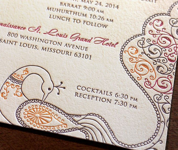 The regal peacock featured on our Jessica design looks stunning pictured here in three letterpressed ink colors.  | Invitations by Ajalon | invitationsbyajalon.com