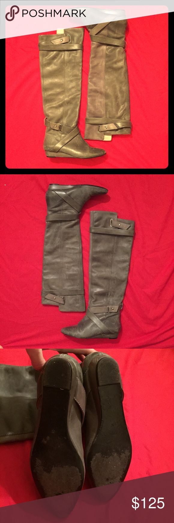 Pour La Victoire Dahlia Over the knee leather boot Good used condition. Scuffs on the leather but no dirt. Velcro ties so you can adjust and fold over. All leather. Wear is on soles but even that's not too bad- they can be worn for years to come! Pour La Victoire Shoes Over the Knee Boots