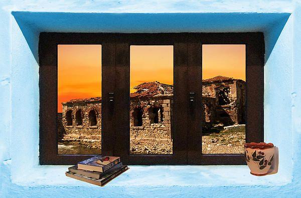 Window Into Greece 5 Outlook.  A New collection of digital paintings by Eric Kempson Eftalou, Molyvos, Lesvos, Greece  http://eric-kempson.artistwebsites.com www.epsilon-art.com