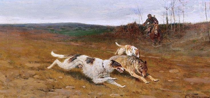 Tikhmenev, Efim A (b,1869)- Borzoi Hunting (com imagens)