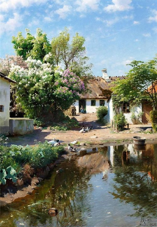 Spring day at a thatched house with blooming lilacs Painting   Peder Mork Monsted Oil Paintings