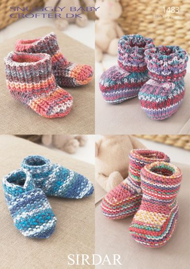 Sirdar 1483 Snuggly Baby Crofter DK Slippers for Birth to 2 Years. Uses #3 weight yarn.