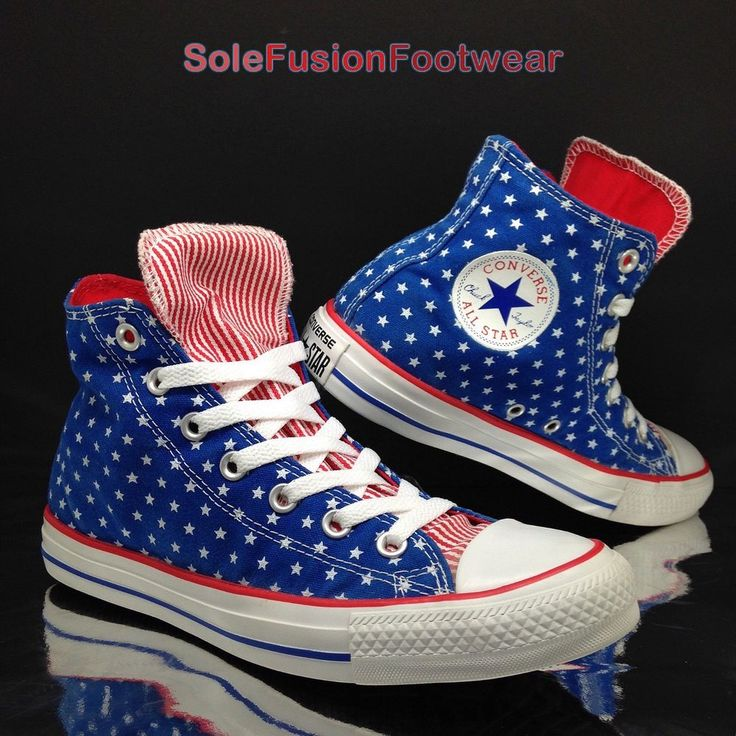 Converse Womens All Star Flag Trainers Blue/Red sz 6 Mens Unisex Hi Tops 39