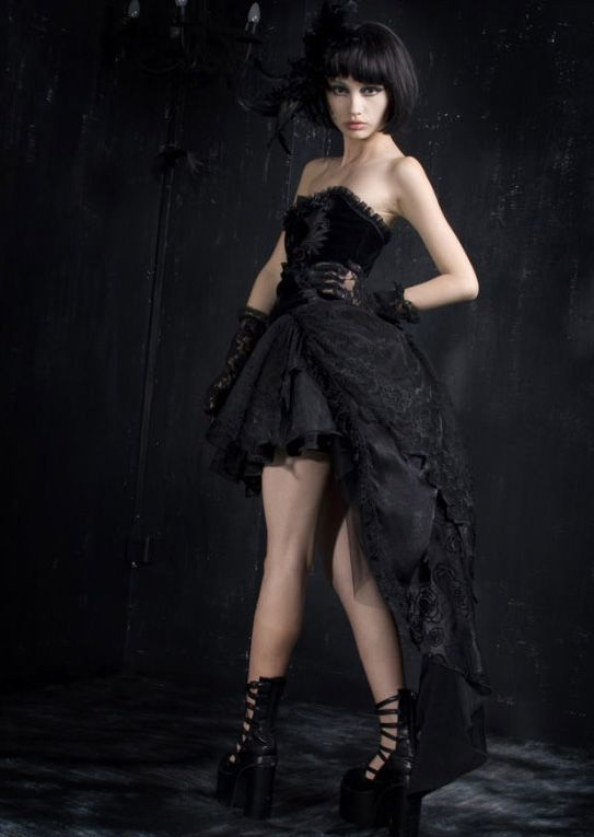 Punk Rave - Gothic Corset Dress with Tail