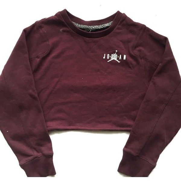 Reworked Jordan Crop Sweatshirt Burgundy ($48) ❤ liked on Polyvore featuring tops, hoodies, sweatshirts, shirts, sweaters, burgundy top, purple top, burgundy crop top, crop top and cut-out crop tops
