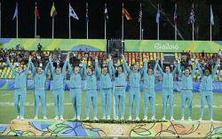 TWA-0050838 © WestPix 2016 Rio Olympics. Rio de Janeiro, Brazil. Women's Rugby Sevens. Gold Medal Match. Australia vs New Zealand. the team celebrates the gold Picture: Simon Santi The West Australian