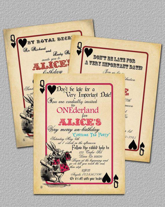Playing Card Alice in Wonderland Invitation Bridal Shower or Birthday Invitation, Printable, Invite