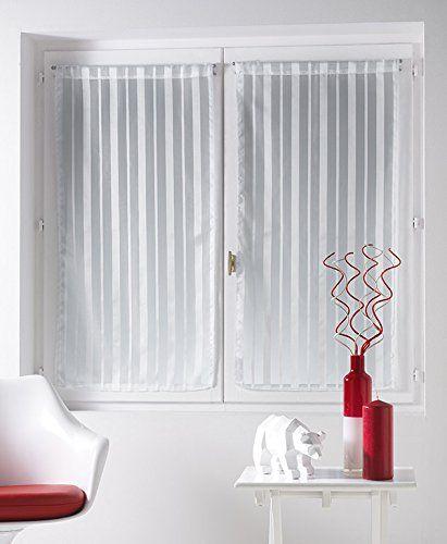 Douceur d'Intérieur Clarity 1 Voile à Paire Droite Rayures Jacquard/Polyester Imprimé 60 x 120 cm