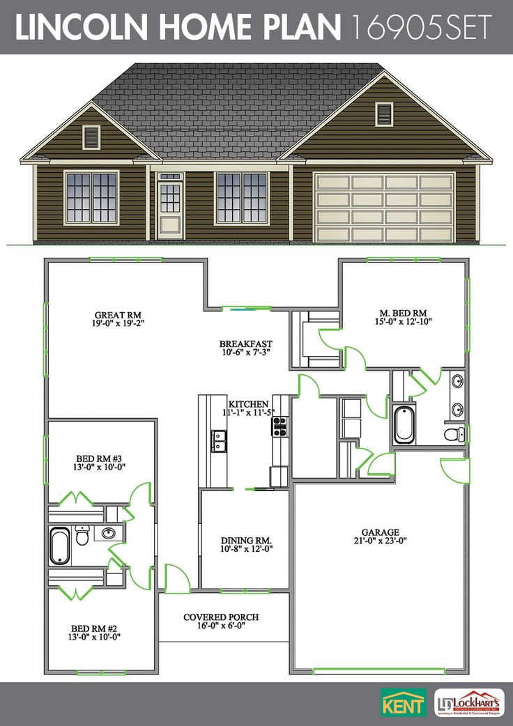 Lincoln 3 Bedroom 2 Bathroom Lincoln Home Plan Features