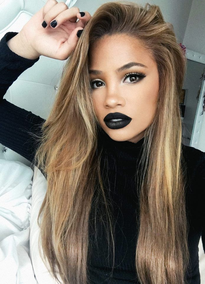 """Kay Von D """"Slayer"""" Lipstick with a little gold shadow on the bottom lip for dimension"""