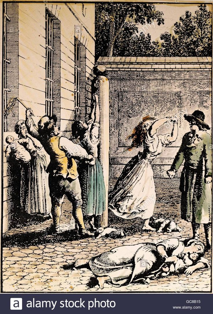justice, penitentary system, flogging of unmarried mothers, etching by Daniel Chodowiecki, 18th century, private collection, Stock Photo