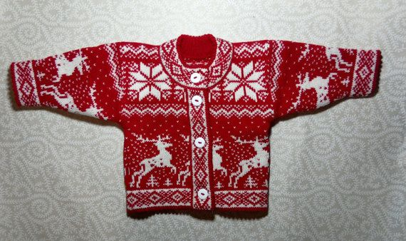 Trendy winter cardigan for children with deer pattern by LanaNere
