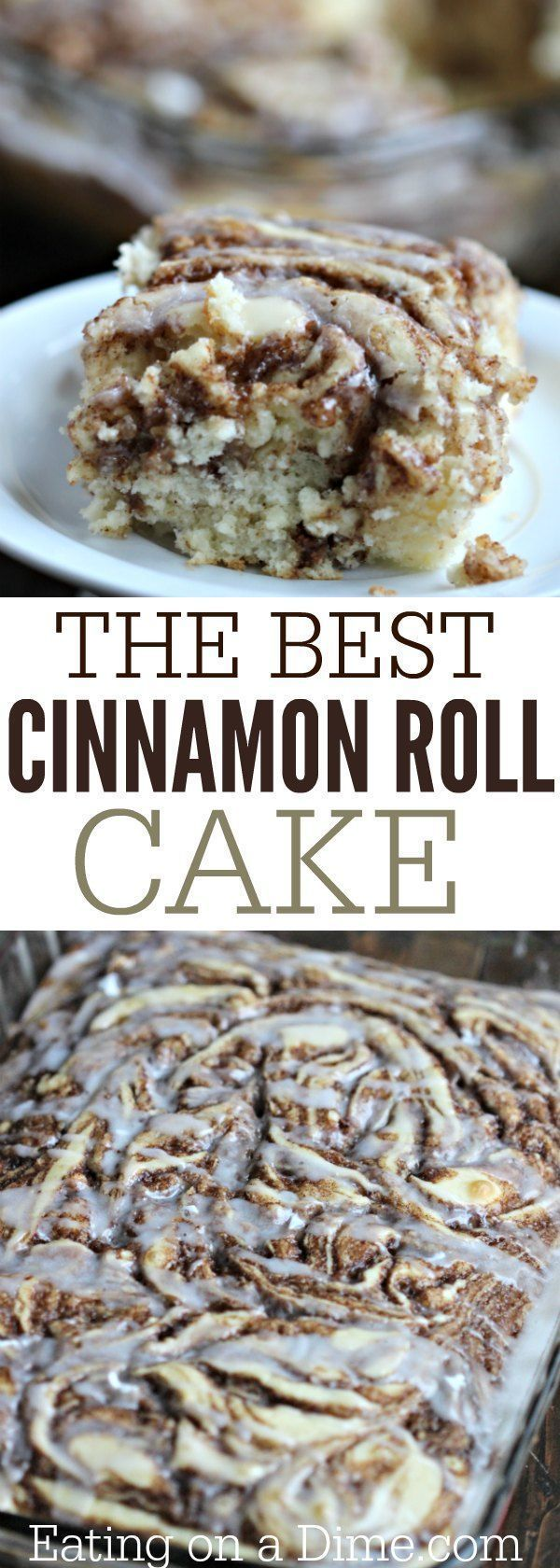 Here is a fun twist on a coffee cake recipe. This easy cinnamon roll cake recipe is the best. Get the taste of homemade cinnamon rolls without all the work. #cakebaking