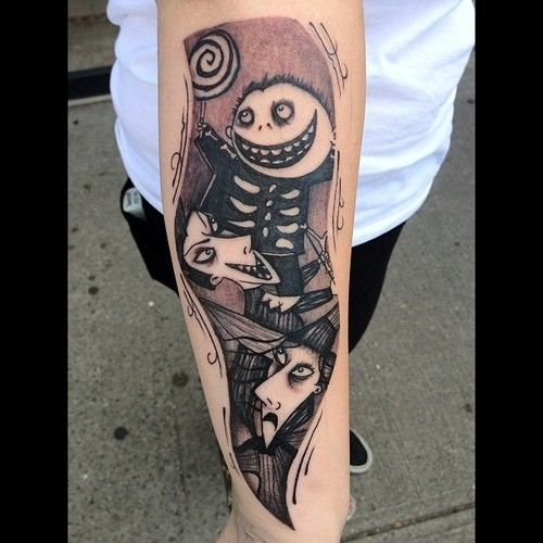 Lock, Shock, and Barrel (from The Nightmare Before Christmas) tattoo. Inked by