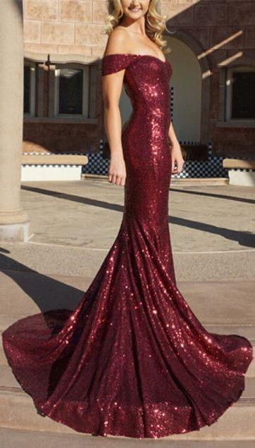 burgundy mermaid off-the-shoulder dress