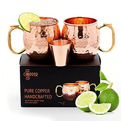 Set of 2 Moscow Mule Copper Mugs with Shot Glass - Two 16 Oz Hammered Moscow Mule Mugs for Cold Drinks - Solid Copper Mugs with BONUS eBook by Copper Gloss