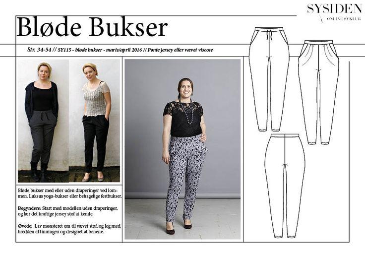 Sy selv lækre bløde nemme bukser. Det kan du med Sysiden 15 (#sy115) og det medfølgende magasin der også lærer dig designændringer, syteknikker mm