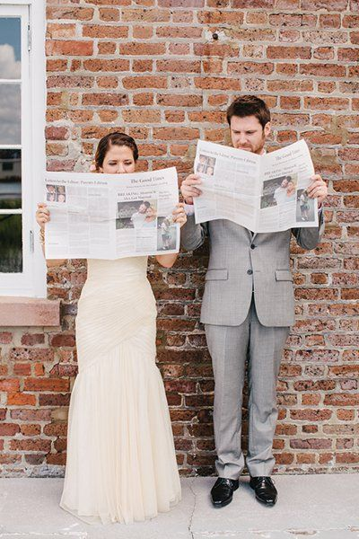 Get creative with your wedding program. We love this couple's personalized newspaper featuring stories and photos about their love.