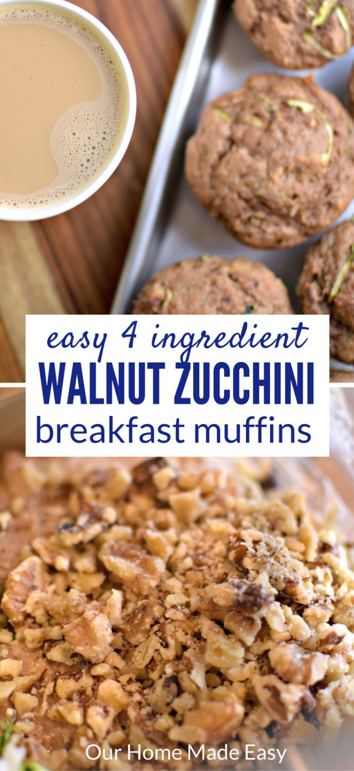 Make an easy fall breakfast zucchini walnut muffins with only 4 ingredients! They pair perfectly with the Starbucks® Pumpkin Spice Caffè Latte K-Cup® pod. #ad #savorfallflavors