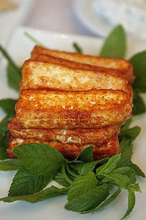 Fried haloumi cheese. Love it sprinkled with a bit of cayenne before frying.