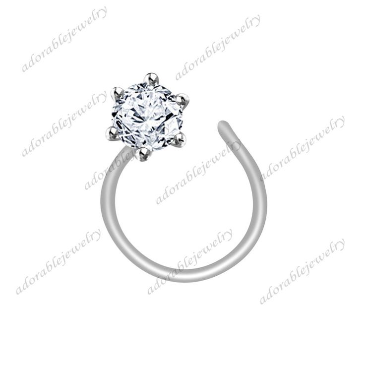 Women's Kid's & Girl's Special .925 Silver Silver Round White Diamond Nose Pin #adorablejewelry #SolitairNosePin