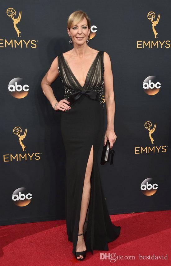 Sexy Side Split Deep V Neck Black Emmy Awards Celebrity Dresses 2016 Allison Janney Mermaid Beaded Formal Prom Evening Gowns Night Dresses Online Shopping Shop For Dresses Online From Bestdavid, $120.61| Dhgate.Com