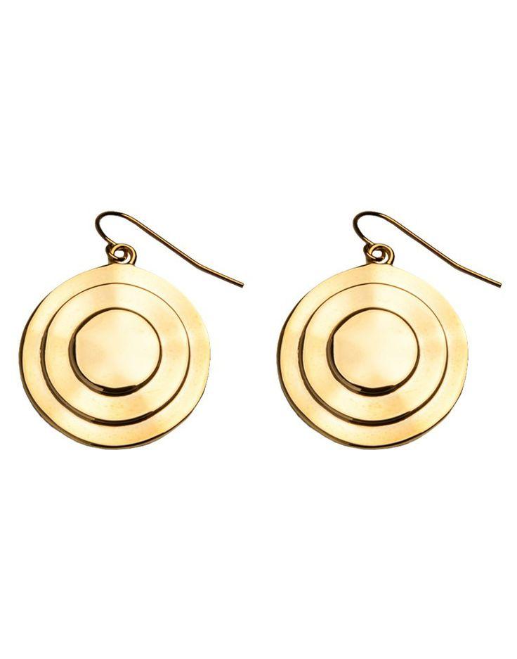 BLACK TIED   Disc Drop Earrings in Gold -  - Style36