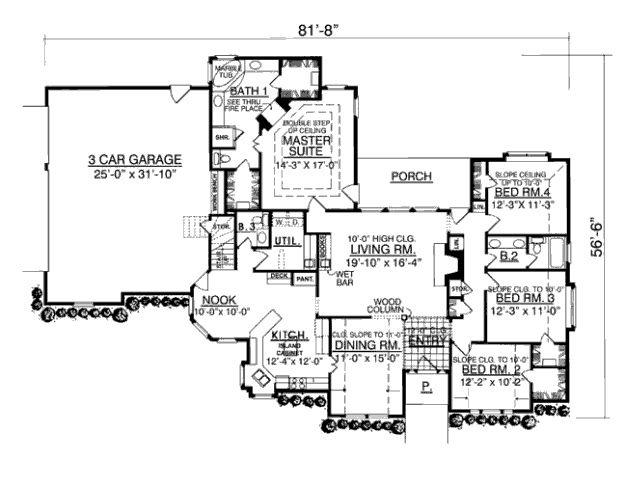 European Style House Plan   4 Beds 2.50 Baths 2316 Sq/Ft Plan #40 147