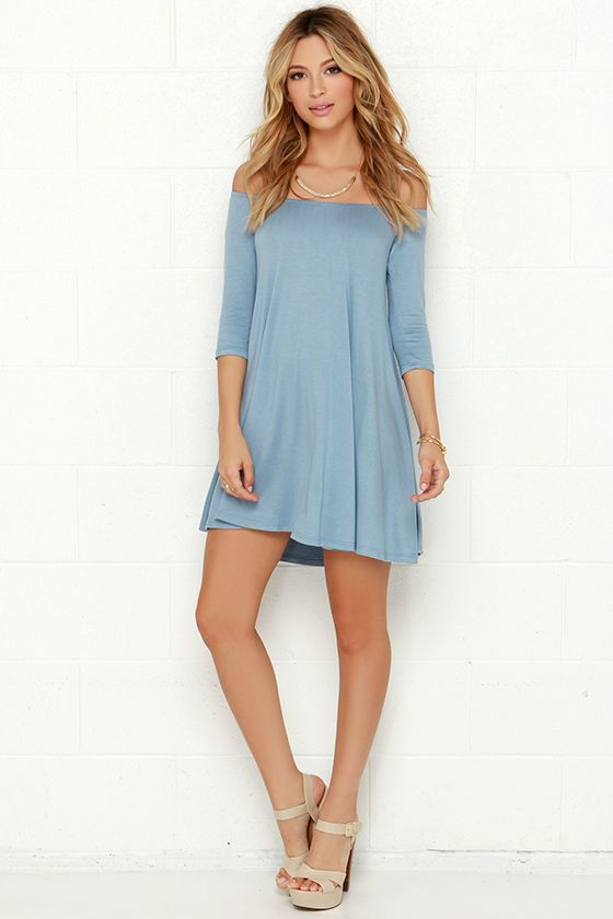 Change up your dress routine with a number that's sure to cause a bit of excitement: the Rock the Bateau Light Blue Off-the-Shoulder Dress! Lightweight jersey knit in light blue falls from an elasticized off-the-shoulder neckline, to fitted three-quarters sleeve, and a relaxed swing bodice. Unlined. 95% Rayon, 5% Spandex. Machine Wash Cold.