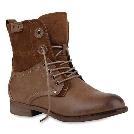 Damen Stiefeletten Profilsohle Worker Boots Leder-Optik Schnürstiefeletten Camouflage Verlours Schuhe 107802 Khaki Braun 39 | Flandell® - Stiefel für frauen (*Partner-Link)