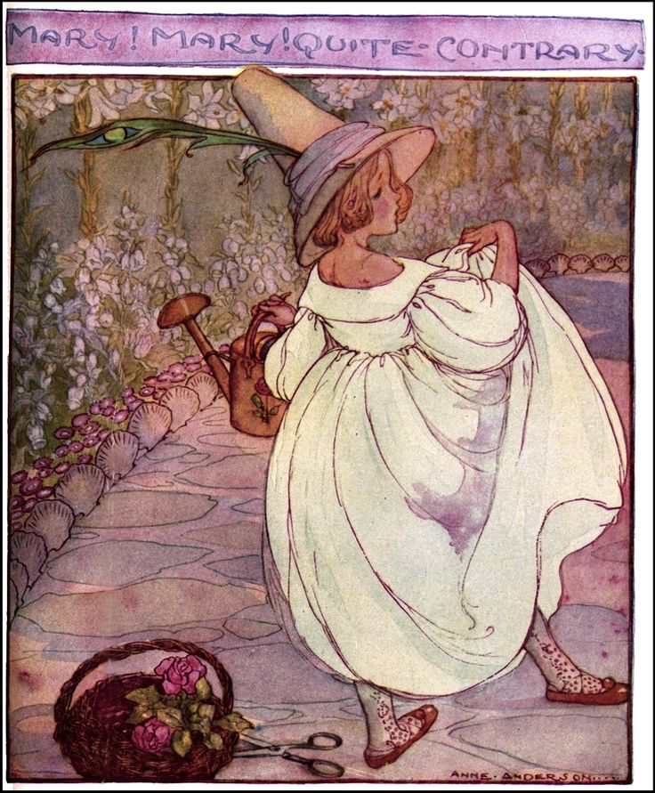 """Art by Anne Anderson (1927) - """"Mary! Mary! Quite Contrary."""""""